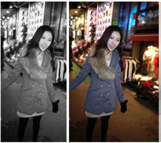 Long Double breasted Wool Coat with Fur Collar Navy Blue/Grey M L 0012