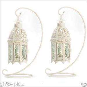 30 Wedding WHITE FANCY Hanging LANTERN Table Decor CENTERPIECES