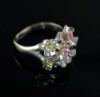 Sterling Silver Pink Yellow Diamonique CZ Dimensional Flower Ring Size