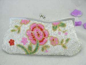 Chic Silver Beaded Pink Flower Band Frame Clutch Purse 5 Colors