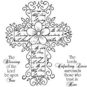 Heartfelt Creations Vintage Cross Cling Rubber Stamps