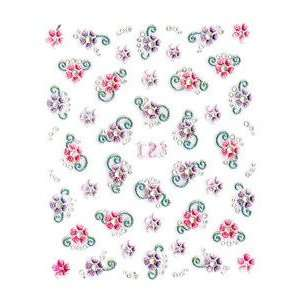 Pink/Purple Floral Nail Stickers/Decals Beauty