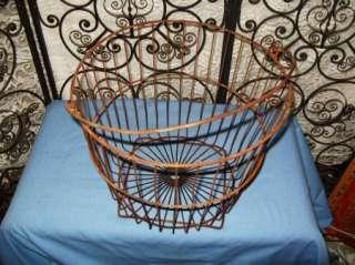 Antique Large Square Bottom Wire Egg Farm Garden Basket