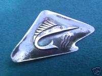 Mexican sterling silver pin brooch sailfish jumping vintage