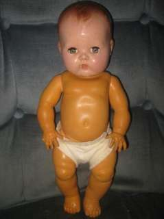 American Character Tiny Tears 1950s 14 Rubber Baby Doll Molded Hair