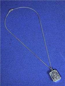 ART DECO STERLING SILVER FILIGREE CAMPHOR GLASS PENDANT 1920s necklace