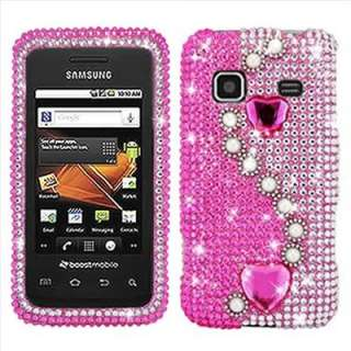Pink Pearl Heart Bling Case Cover for Samsung Galaxy Prevail M820