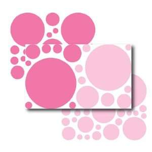 67 Large LIght and Bright Pink Polka Dot Wall Transfers Baby