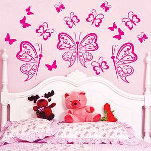 Custom 17 BUTTERFLIES Vinyl Wall Decals Sticker Art Decor Mural