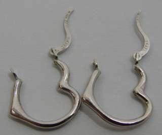 Lovely 10K White Gold Pierced Heart Hoop Earrings .4g