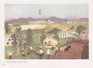 GRANDMA MOSES print hot air BALLOON over farmland