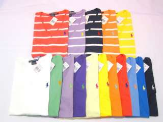 Polo Ralph Lauren Sport Womens SS Classic Solid/Stripe V Neck T Shirt