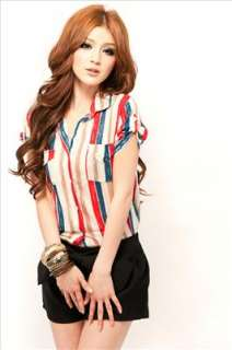 Women Ladys korean fashion cotton colorful stripes bottom down shirt