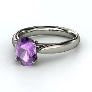 Oval Trellis Solitaire Ring, Oval Amethyst 14K White Gold