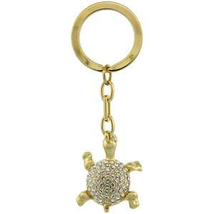 GOLD TONE TURTLE KEY CHAIN W/SWAROVSKI CRYSTALS lskc136
