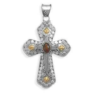 Sterling Silver/14 Karat Gold Plate Cross with Baltic