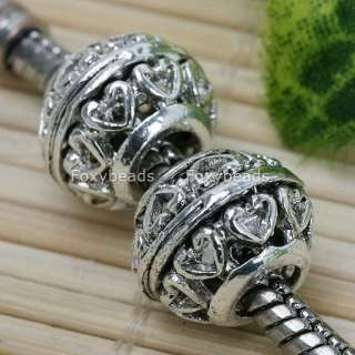 5pc Tibetan Silver *Heart Large Hole Beads Fit Bracelet