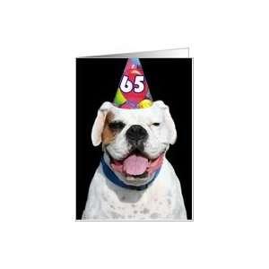Happy 65th Birthday White Boxer Dog Card: Toys & Games