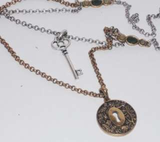 LUCKY BRAND NECKLACE,TWO TONE, KEY AND LOCK CHARMS,NWT,STYLISH