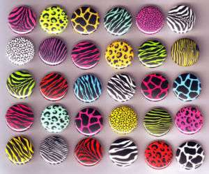 Bulk Lot ANIMAL LEOPARD PRINT BADGES x 30 Buttons Pins Badge Retro