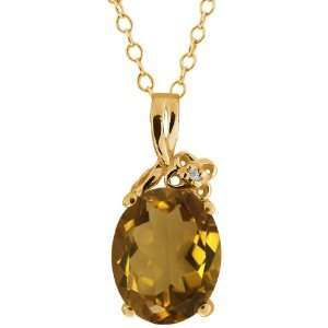 2.31 Ct Oval Whiskey Quartz and Topaz Gold Plated Silver