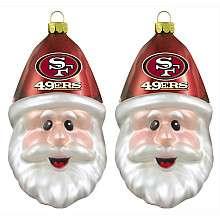 Topperscott San Francisco 49ers 2 Glass Santa Cap Ornaments