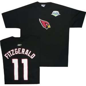 Cardinals Larry Fitzgerald Super Bowl Name and Number T Shirt Reebok