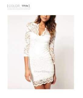 C103021 Womens Pretty Dresses Girl Deep V Collar Short sleeve Lace