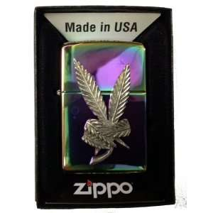 Zippo Custom Lighter   Weed POT Marijuana Ganja Peace Sign Emblem Logo