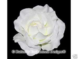White Rose Flower Bridal Hair Clip Accessory Wedding