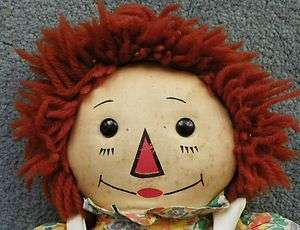 RAGGEDY ANN DOLL   GEORGENE   WOOL HAIR   BLACK OUTLINED NOSE