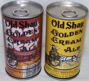 Old Shay Golden Cream Ale~2 Beer Cans~Fort Pitt Brewing Co. Smithton