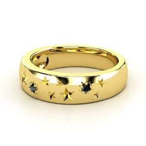 Written in the Stars Ring, 14K Yellow Gold Ring with Black