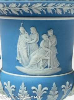Antique Victorian Wedgwood Blue Jasper Ware Pedestal Urn Form Vase
