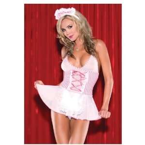 2 Piece Candy Striper Babydoll Outfit With Matching Hat