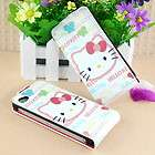 Hello kitty Flip Flap Hard Leather Cover Case For iPhone 4 4G 4S 0596