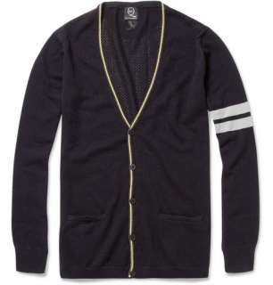 McQ Alexander McQueen Striped Cotton and Cashmere Blend Cardigan  MR