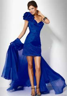 New One Shoulder Charming bithday Evening Formal Prom Blue Dress 3