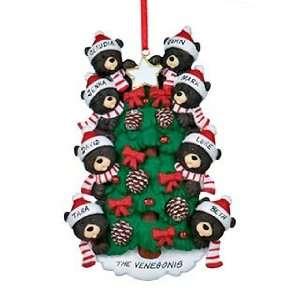 Personalized Black Bear Tree Family 8 Christmas Ornament