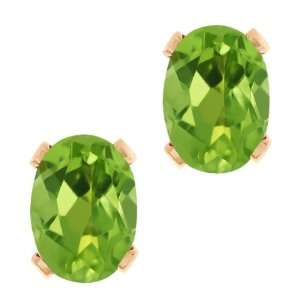 Shape Green Peridot Rose Gold Plated Silver Stud Earrings Jewelry