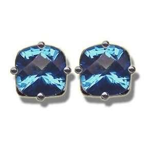 6mm Checkerboard Glacier Blue Mystic Topaz Earring Jewelry