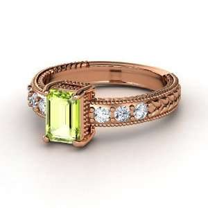 Emerald Isle Ring, Emerald Cut Peridot 14K Rose Gold Ring