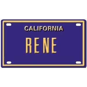 Rene Mini Personalized California License Plate