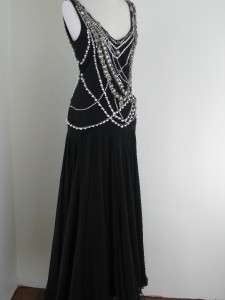 MARCHESA BLACK RARE BEADED EMBELLISHED GOWN DRESS SIZE 8 RARE