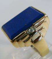 MENS RING ANTIQUE VINTAGE DECO ESTATE NATURAL LAPIS & DIAMOND 10K