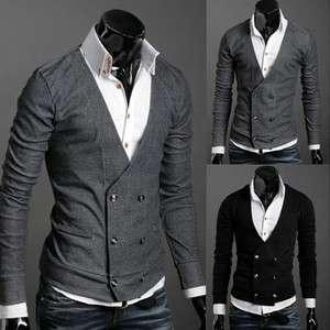 NEW Men Premium Stylish V NECK Double Breasted Cardigan Black,Gray US