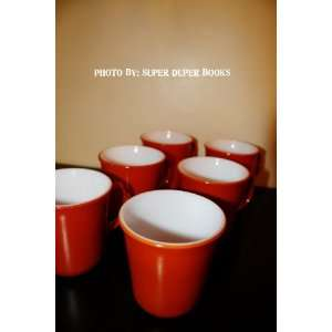 Six Vintage Pyrex Brand Burnt Orange Coffee Mugs Cups with
