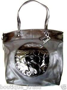 328 NWT COACH F18336 Laura Genuine Leather Tote Black/Silver