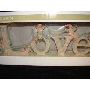 Wood LOVE sign with Cherubs home decor accents