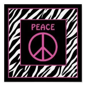 Zebra and Pink Peace Sign Wall Decor Posters